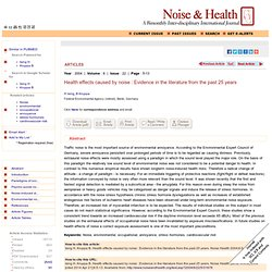 Health effects caused by noise : Evidence in the literature from the past 25 years Ising H, Kruppa B - Noise Health