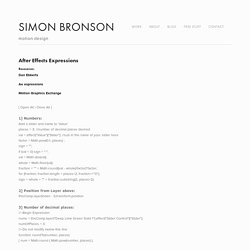 After Effects expressions — Simon Bronson
