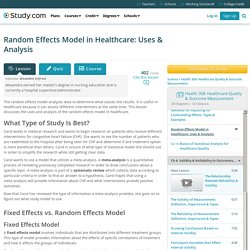 Random Effects Model in Healthcare: Uses & Analysis