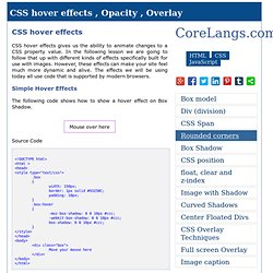 CSS hover effects , Image hover effects , hover Opacity , hover Overlay and Hover change picture