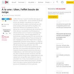 À la une : Uber, l'effet boule de neige - Info socialRH.fr