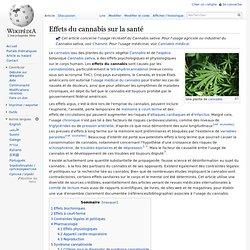 Effets du cannabis sur la santé