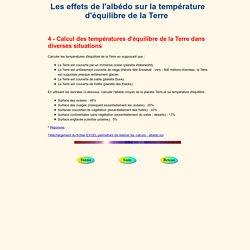 Les effets de l'albédo sur la température d'équilibre de la Terre