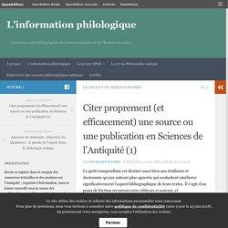 Citer proprement (et efficacement) une source ou une publication en Sciences de l'Antiquité (1) – L'information philologique
