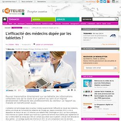 L'efficacité des médecins dopée par les tablettes ?