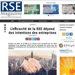 L'efficacité de la RSE dépend des intentions des entreprises