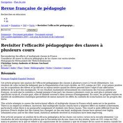 Revisiter l'efficacité pédagogique des classes à plusieurs cours