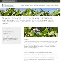 IRDA - PROJET DE RECHERCHE 2016-2017 - Étude de l'efficacité technique et de la performance financière dans la production de bleuets sauvages du Québec