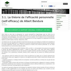 3.1. La théorie de l'efficacité personnelle (self-efficacy) de Albert Bandura