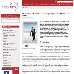 """""""Bien-être et efficacité"""" : pour une politique de qualité de vie au travail"""