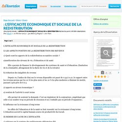 : L'EFFICACITE ECONOMIQUE ET SOCIALE DE LA REDISTRIBUTION - Documents Gratuits - Ellyah