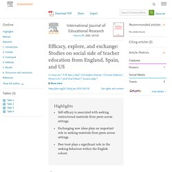 Efficacy, explore, and exchange: Studies on social side of teacher education from England, Spain, and US