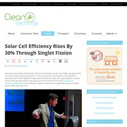 Solar Cell Efficiency Rises By 30% Through Singlet Fission