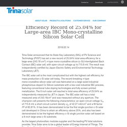 Trina Solar Announces New Efficiency Record of 25.04% for Large-area IBC Mono-crystalline Silicon Solar Cell