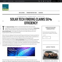 Solar Tech Finding Claims 50% Efficiency
