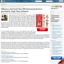 Effectiveness and Good Value HR Services provided by Triple Three Solutions