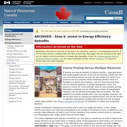 ARCHIVED - Step 4: invest in Energy Efficiency Retrofits