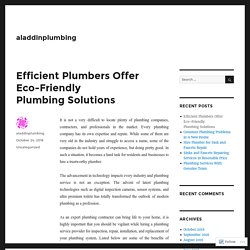 Efficient Plumbers Offer Eco-Friendly Plumbing Solutions – aladdinplumbing