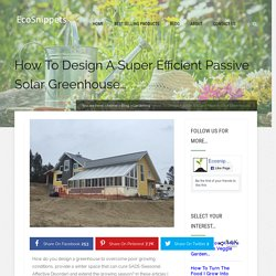 How To Design A Super Efficient Passive Solar Greenhouse… – Eco Snippets