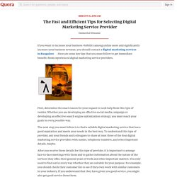 The Fast and Efficient Tips for Selecting Digital Marketing Service Provider