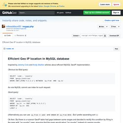 Efficient Geo IP location in MySQL database