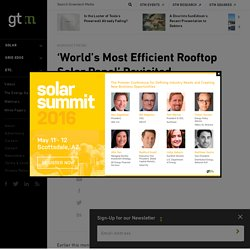'World's Most Efficient Rooftop Solar Panel' Revisited