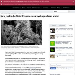 New method efficiently generates hydrogen from water