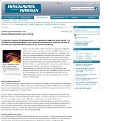 Neuer Effizienzrekord aus Freiburg - Solarenergie