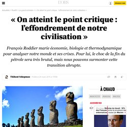 « On atteint le point critique : l'effondrement de notre civilisation » - 24 mars 2015