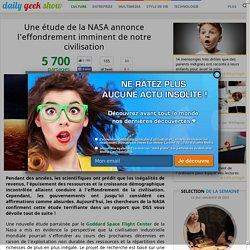 Une étude de la NASA annonce l'effondrement imminent de notre civilisation