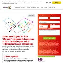 """Lettre ouverte pour un Plan """"Marshall"""" européen de l'éducation et de la formation pour éviter l'effondrement socio-économique"""