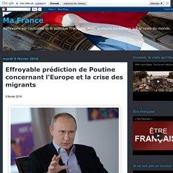 Effroyable prédiction de Poutine concernant l'Europe et la crise des migrants