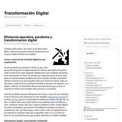 Eficiencia operativa, pandemia y transformación digital - Transformación Digital