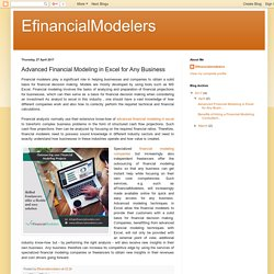EfinancialModelers: Advanced Financial Modeling in Excel for Any Business