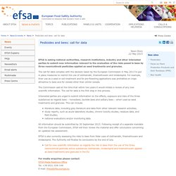EFSA News Story: Pesticides and bees: call for data