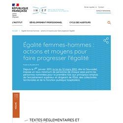 Égalité femmes-hommes : actions et moyens pour faire progresser l'égalité