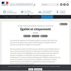 Égalité et citoyenneté - Compte rendu du Conseil des ministres du 13 avril 2016