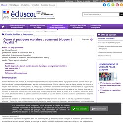 Genre et pratiques scolaires: comment éduquer à l'égalité?