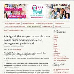 Prix Egalité Rhône-Alpes : un coup de pouce pour la mixité dans (...) -