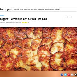 Eggplant, Mozzarella, and Saffron Rice Bake Recipe