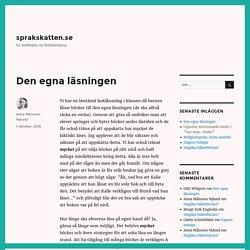 Den egna läsningen – sprakskatten.se