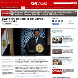 Egypt's new president to pick woman, Christian VPs