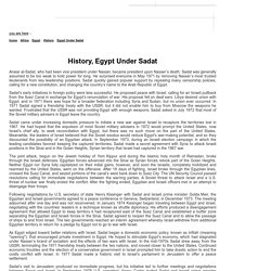 Egypt Under Sadat - History - Egypt - Africa