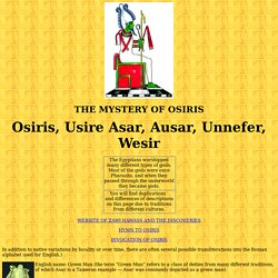 Osiris, Egyptian god of the underworld and of vegetation