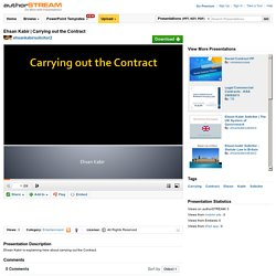 Carrying Out the Contract