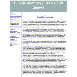How does eidetic memorized the pictures