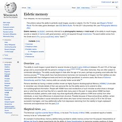 Eidetic memory -photographic memory