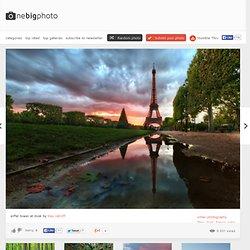 eiffel tower at dusk photo