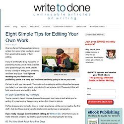 Eight Simple Tips for Editing Your Own Work