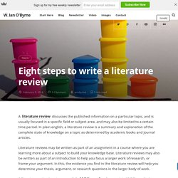 Eight steps to write a literature review